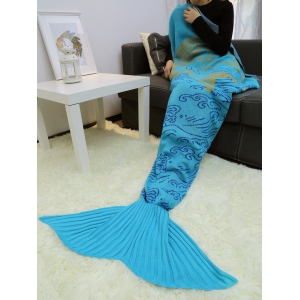 A Fish Leaping Over The River Design Knitted Mermaid Blanket Throw