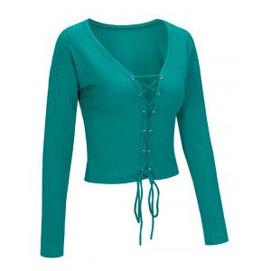 Lace Up Long Sleeve Cropped Top -