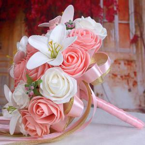 Artificial Rose and Lily Bridal Wedding Bouquets - PINK/WHITE