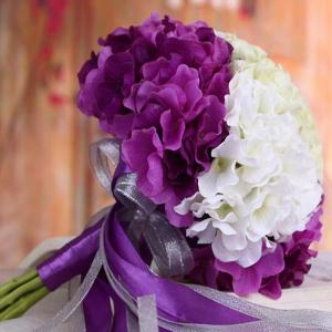 Two Tones Artificial Hydrangea Bridal Wedding Bouquets -