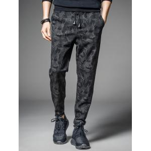 Casual Pocket Drawstring Camo Jogger Pants