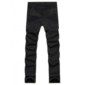 Slim Fit Zip Fly Plaid Dress Pants