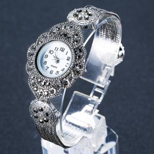 Rhinestoned Flower Shape Bracelet Watch - SILVER