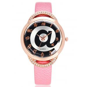 Rhinestone Artificial Leather Watchband Watch