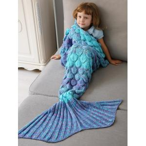 Home Decor Crochet Fish Scale Knit Mermaid Blanket Throw For Kids - Colormix - W79 Inch * L59 Inch