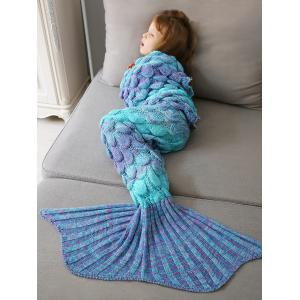 Home Decor Crochet Fish Scale Knit Mermaid Blanket Throw For Kids -