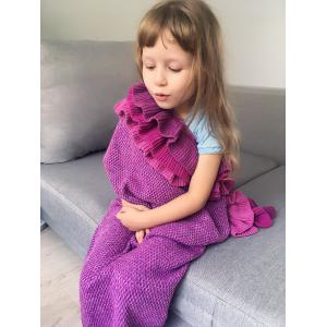 Home Decor Multilayered Ruffles Knit Mermaid Blanket Throw For Kids - VIOLET ROSE