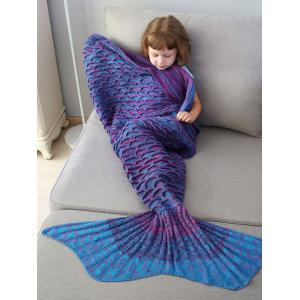 Home Decor Mix Color Fish Scale Knit Mermaid Blanket Throw For Kids - Colormix - W79 Inch * L59 Inch