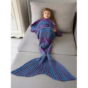 Home Decor Ombre Crochet Knit Mermaid Blanket Throw For Kids - Colormix - W79 Inch * L59 Inch
