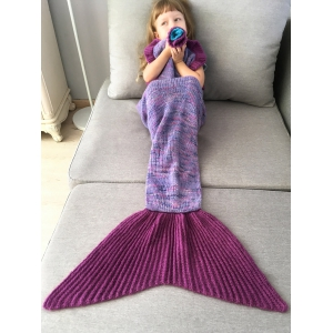 Home Decor Handmade Flower Ruffles Knitted Mermaid Blanket Throws For Kids - PURPLE
