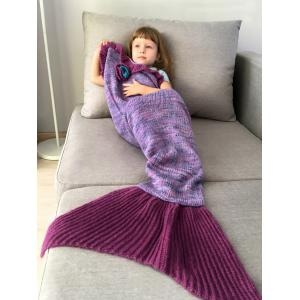 Home Decor Handmade Flower Ruffles Knitted Mermaid Blanket Throws For Kids - Purple - 45*45cm