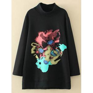 Plus Size Abstract Print Side Slit Sweatshirt