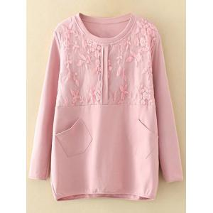 Plus Size Embroidery Floral Trim Sweatshirt - Shallow Pink - 2xl