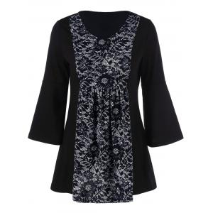 Floral Lace Insert Tunic T-Shirt