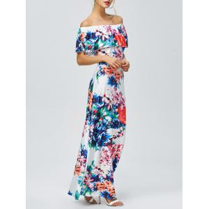 Off-The-Shoulder Floral Hawaiian Print Maxi Dress - Floral - Xl