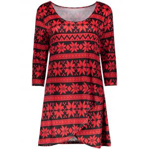 Scoop Neck Printed Mini Shift Dress