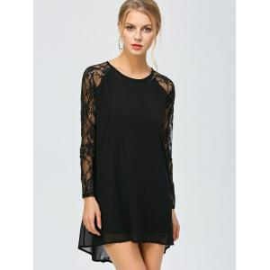 Long Sleeve High Low Shift Dress with Lace Insert - BLACK M
