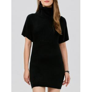Turtleneck Bodycon Mini Short Sleeve Jumper Dress - Black - One Size