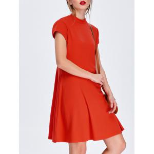 Stand Collar Mini Flared Day Dress - Red - M