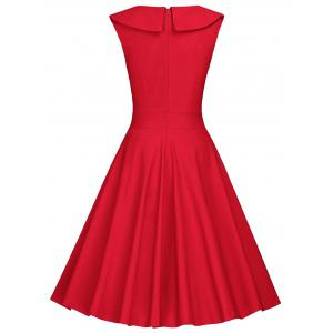 Polka Dot Sleeveless Pleated A Line Dress - RED 2XL
