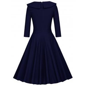 Pleated Color Block A Line Dress - BLUE AND WHITE XL