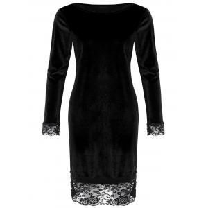 Lace Trim Long Sleeve Velvet Bodycon Dress