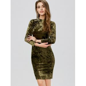 Velvet Ruched Slimming Bodycon Bandage Dress - GREEN XL
