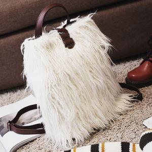 PU Leather Panel Faux Fur Backpack - WHITE