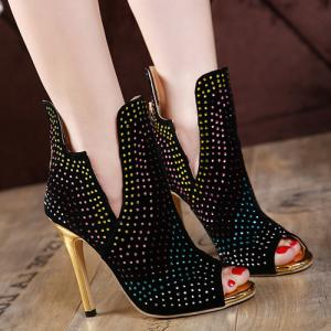 Rhinestoned Stiletto Heel Peep Toe Shoes - Black - 38