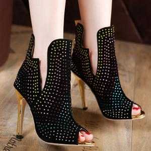 Rhinestoned Stiletto Heel Peep Toe Shoes - BLACK 38
