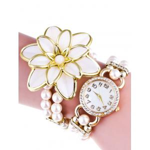 Flower Faux Pearl Beads Bracelet Watch