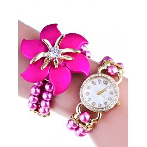 Rhinestone Flower Beads Quartz Bracelet Watch