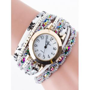Rhinestone Wrap Bracelet Watch - White