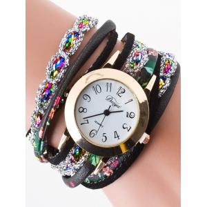 Rhinestone Wrap Bracelet Watch - Black