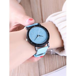 Faux Leather Glitter Analog Watch - BLUE