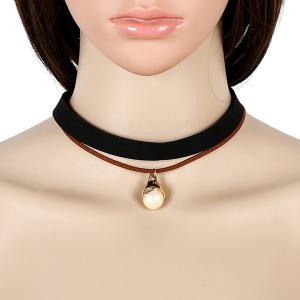 Artificial Leather Velvet Pearl Choker Necklace