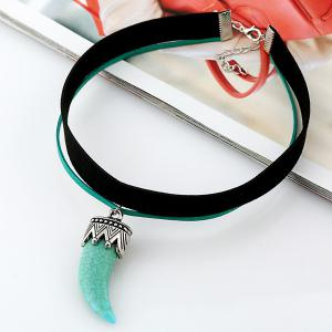 Artificial Leather Velvet Ivory Choker Necklace -