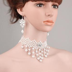 Faux Pearl Lace Flower Bridal Choker Necklace and Earrings - White
