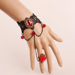 Vintage Lace Rose Bracelet with Ring - Black