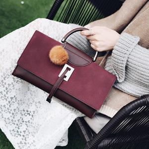 Faux Leather Pompon Flapped Handbag - WINE RED