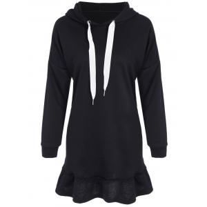Long  Sleeve Drop Waisted Hoodie Dress