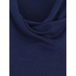 Knitted Button Asymmetric Cardigan - DEEP BLUE M