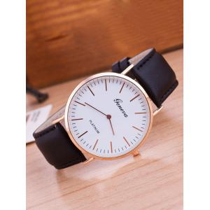 Faux Leather Band Analog Wrist Watch - Black