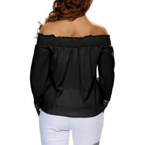 Lace Sleeve Off The Shoulder Blouse - BLACK M