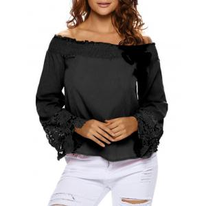 Lace Sleeve Off The Shoulder Blouse - Black - S
