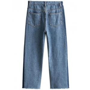 Wide Leg Mom Frayed Jeans - DENIM BLUE M