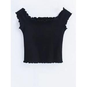Ruffles Off Shoulder Crop Top - BLACK S