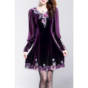 Embroidered Long Sleeve Velvet Dress