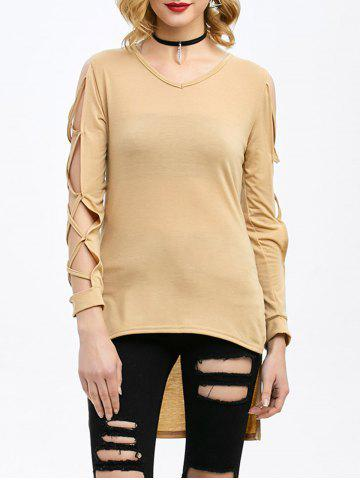Affordable High Low V Neck Cut Out T-Shirt