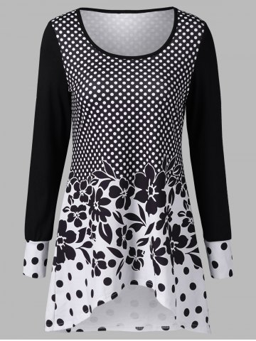 Shop Polka Dot and Floral T-Shirt WHITE AND BLACK XL